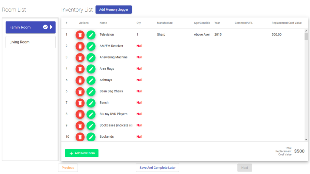 Personal Property Inventory Memory Jogger App